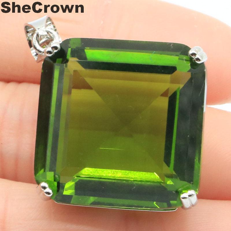 38x29mm Deluxe Big Square Shape 11g Created 22x22mm Green Peridot Woman's Jewelry Making Silver Pendant