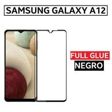 Protector Cristal Templado Pegamento Completo para SAMSUNG GALAXY A12 Full Glue Negro 6.5