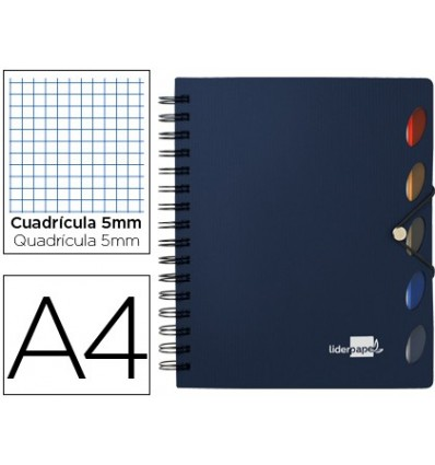 SPIRAL NOTEBOOK LEADERPAPER A4 MICRO EXECUTIVE PLASTIC CAP 100H 80GSM TABLE 5MM 5 SEPARATORS WITH GOMILLA BLUE
