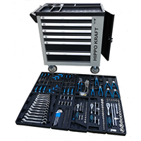 Carro de herramientas de taller profesional con 6 cajones y puerta lateral con ruedas y 155 pzs herramientas reales incorporadas