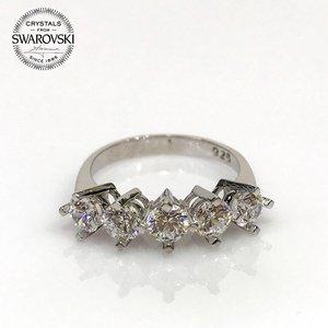 Original swarovski dibs ouro padrão anel de prata