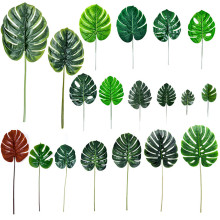 Artificial Monstera Plants Leaves Leaf-shaped Green Plants Plastic Tropical Palm Tree Leaves Photography Decorative Leaves artificial tropical palm leaves monstera leaves 7 leaves bouquet 70cm simulated green plant leaf for indoor home decoration