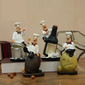 Image 3 - Strongwell Retro Chef Model Ornaments Resin Crafts Chef Figurines White Top Hat Cook Home Kitchen Restaurant Bar Coffee Decor