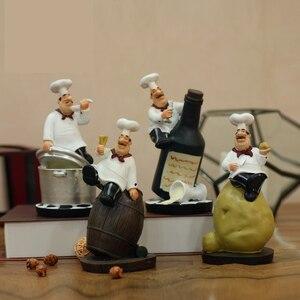 Image 3 - Strongwell Retro Chef ozdoby modelowe rzemiosło żywiczne figurki szefa kuchni biały Top Hat Cook Home kuchnia restauracja/Bar Coffee Decor