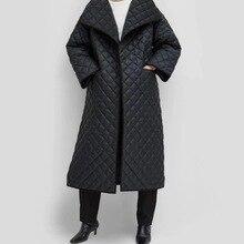 Obrix длинная Повседневная стильная уличная куртка с v-образным вырезом, с длинным рукавом, на одной пуговице, свободная, длина по щиколотку, Трендовое Стеганое пальто для женщин
