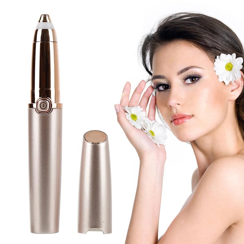 Aparador elétrico de sobrancelhas sem dor, depilador elétrico com luz led para cuidados com a maquiagem dos olhos, caneta removedora de pelos