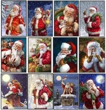 サンタクロースコレクション 3 カウントクロスステッチキット ハンドメイド刺繍刺繍 14 ct クロスステッチセットクリスマス