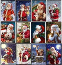 Noel baba koleksiyonu 3 sayılan çapraz dikiş kitleri el yapımı oya nakış 14 ct çapraz dikiş setleri noel