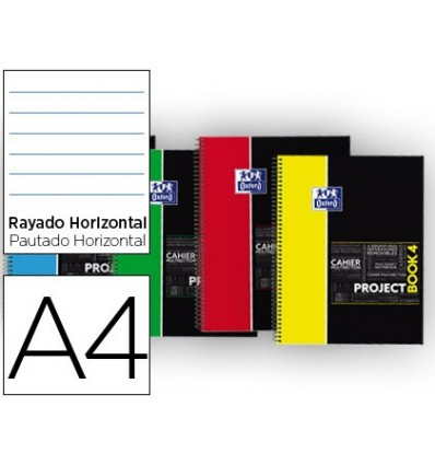 NOTEPAD SPIRAL OXFORD PLASTIC CAP MICROPERFORATED PROJECTBOOK1 DIN A4 80 SHEETS 90 HORIZONTAL COLORS