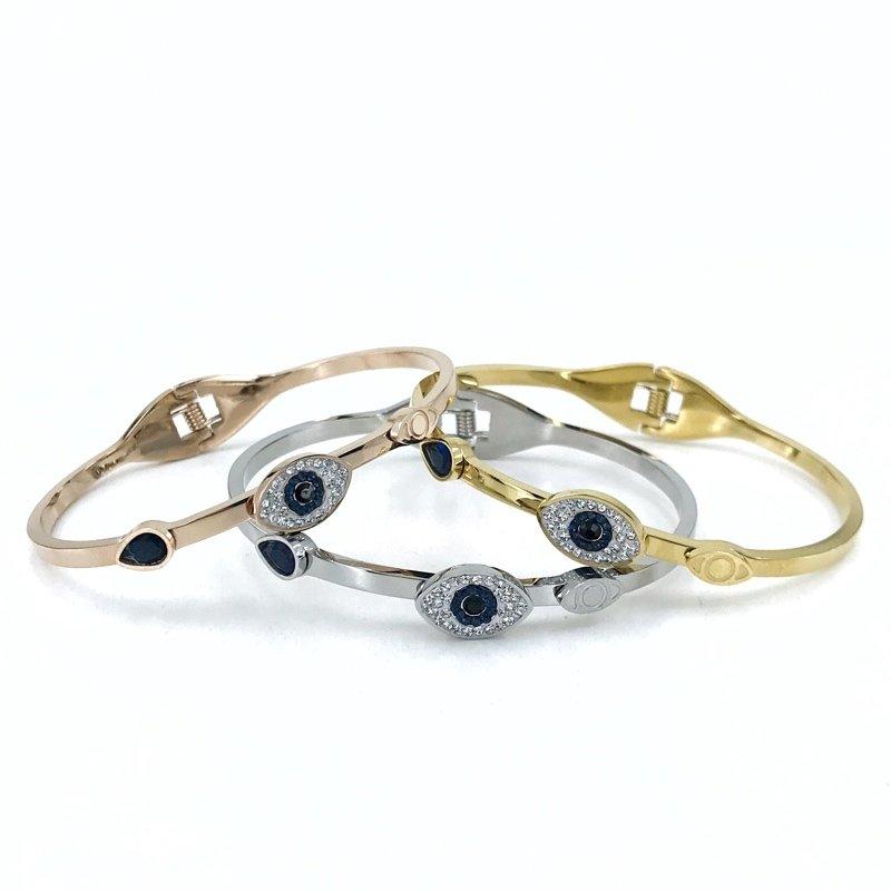 316 L Quality Evil Eye GOLD Steel Women Bracelet Bangle