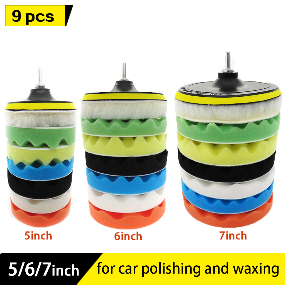 9pcs Car-polishing-pad Wave Sponge Buffing Waxing Pad Kit For Car Polisher With Drill Adapter Removes Scratches