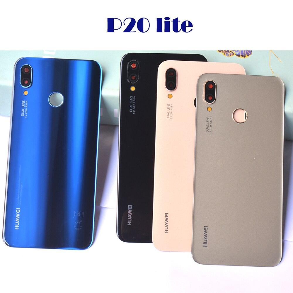 Genuine Original New For Huawei P20 Lite Back Battery Cover Glass Housing+Camera Frame Lens