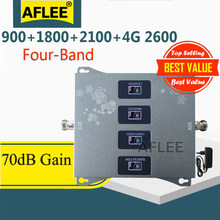 1PCS 900 1800 2100 2600mhz Four-Band 4G Cellular Amplifier Repeater GSM 2G 3G 4G Network Mobile Signal Booster GSM DCS WCDMA LTE