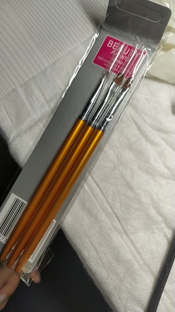 3 Size Nail Art Gold Round Top Painting Brush Set Gel Polish Tips Extending Coating 3D Petal Flower DIY Drawing Shaping Pens Kit reviews №1 124359