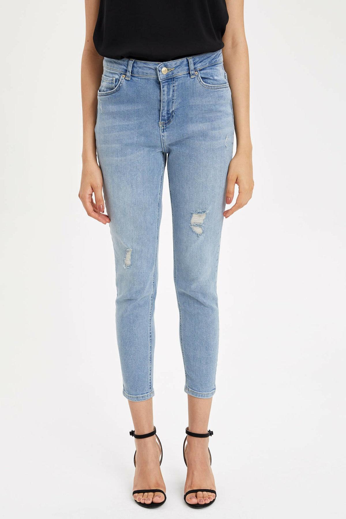 DeFacto Light Blue Women Skinny Jeans Denim Casual Mid-waist  Female Pencil Denim Stretch Simple Denim Trousers-L4860AZ19HS