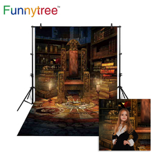 Funnytree fondo para estudio fotográfico estantería vintage sillón mago de Halloween fondo de velas cabina de foto sesión fotográfica