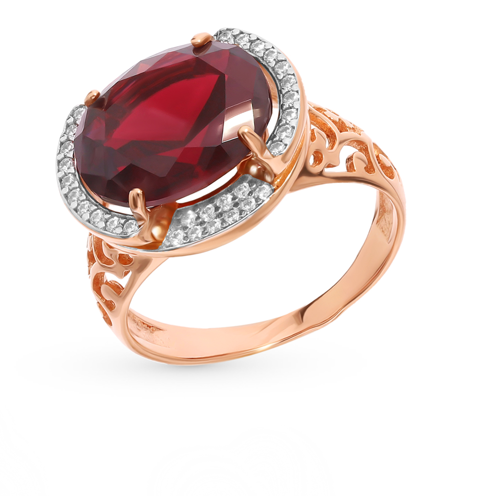 Silver Ring With нанокристаллами, Cubic Zirconia And Garnet SUNLIGHT Test 925