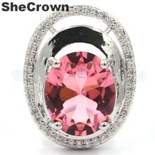20x16mm Ravishing Oval Shape Created Pink Morganite White CZ Gift For Woman's Silver Rings