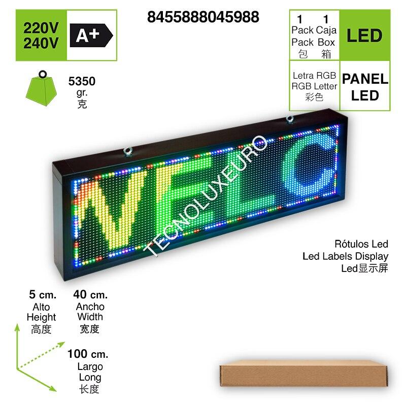 RÓTULO LED ELECTRÓNICO Aluminio Pantalla Letras RGB 100 CM X 40 CM X 5CM