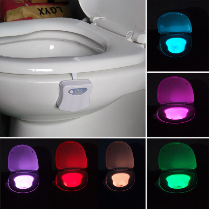 Smart PIR Motion Sensor Toilet Seat Night Light 8 Colors Waterproof Backlight For Toilet Bowl LED WC Toilet Light