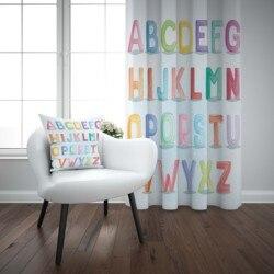 آخر الحروف الأبجدية الملونة ثلاثية الأبعاد طباعة الاطفال طفل الأطفال ستائر نافذة مجموعة الستار الجمع بين كيس وسادة هدية