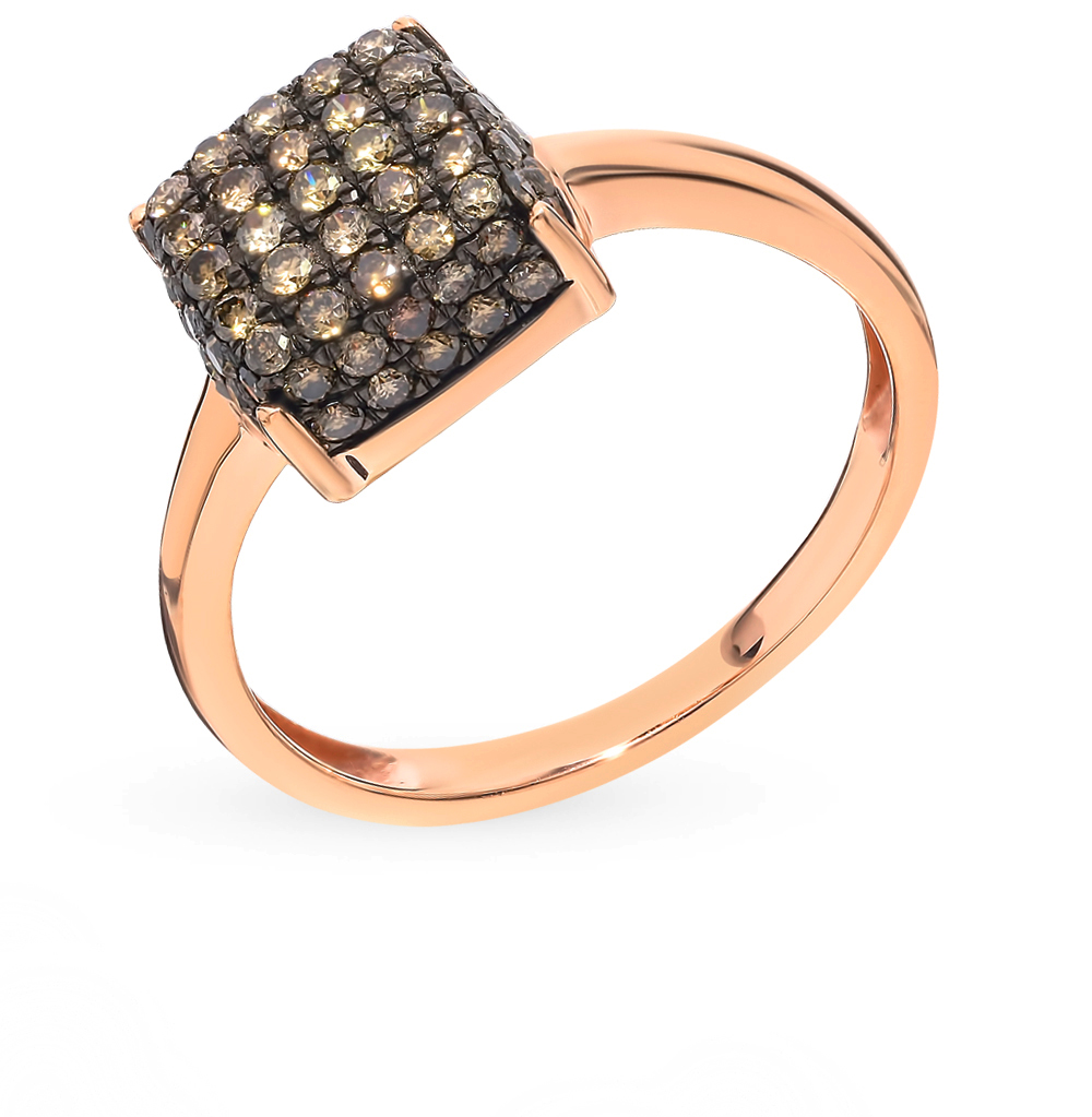 Gold Ring With Cognac Diamonds SUNLIGHT Test 585