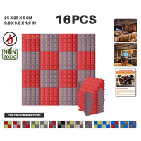Arrowzoom 9.8 x 9.8 x 1.9 16 pcs Set Pyramid Studio Sound Proofing Acoustic Foam Tile 9 Color Combinations KK1034