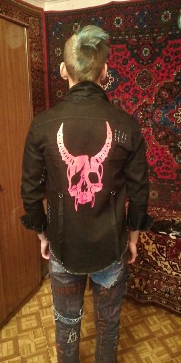 Demon Hunter Skull Black Denim Jacket photo review
