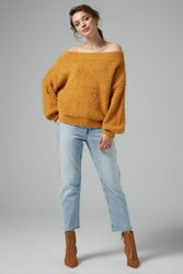 Joinus Off Shoulder Knitted Jumper With Balloon Sleeve Woman Mustard