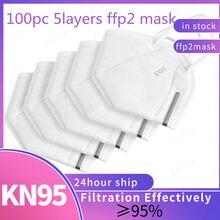 ¡En stock! Mascarilla ffp2kn95 para hombre y mujer, máscara transpirable fpp2, homologada, entrega rápida, 100 Uds.