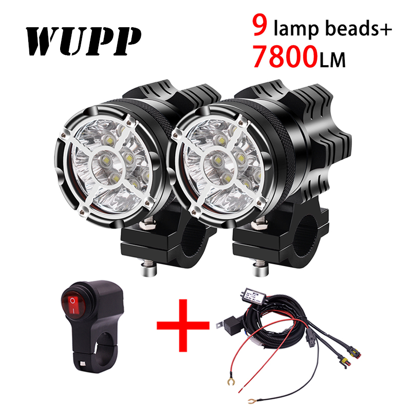 2PCS Universal 9 Chips Headlight LED Motorcycle Motorbike 7800 LM Moto Spotlight Waterproof Fog Spot  Motos Bulb Super Bright