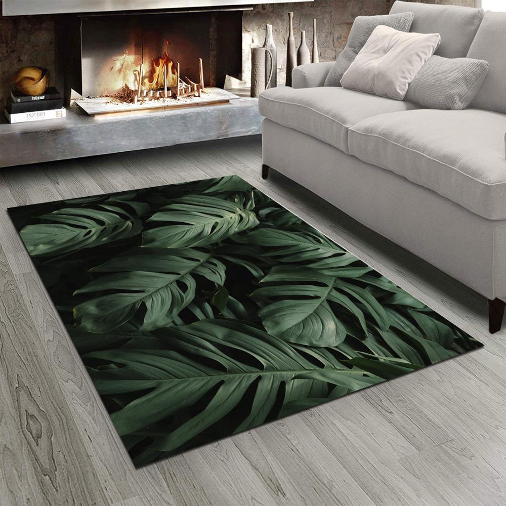 Else Tropical Green Jungle Floral Leaves 3d Print Non Slip Microfiber Living Room Modern Floor Carpet Washable Bedroom Rug Mat