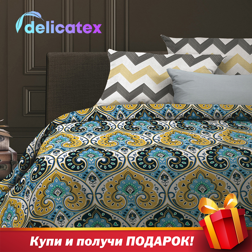 Set di biancheria da letto Delicatex 6528-1 + 6529-1Persia Tessili Per La Casa Letto lenzuola di lino Cuscino Coperture Copripiumino Рillowcase
