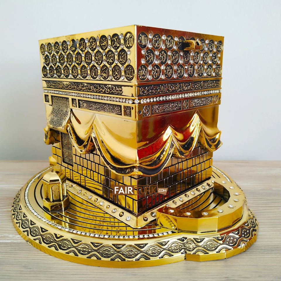 X-Large Size 3D Kaaba Design Islamic Gift In Gold Color title=