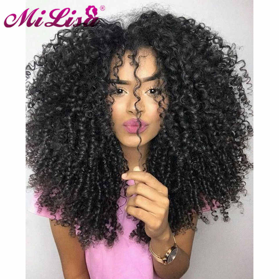 Afro Kinky Curly Wigs For Black Women Mongolian Mi Lisa Remy Hair Glueless Lace Front Human Hair Wigs Pre Plucked With Baby Hair