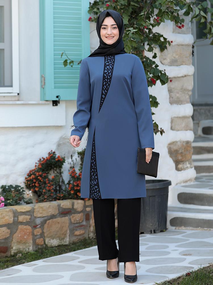 Tunic Trousers Hijab Suit New Season Crepe Fabric Islamic Muslim Dubai Combination Clothing High Quality Made in Turkey