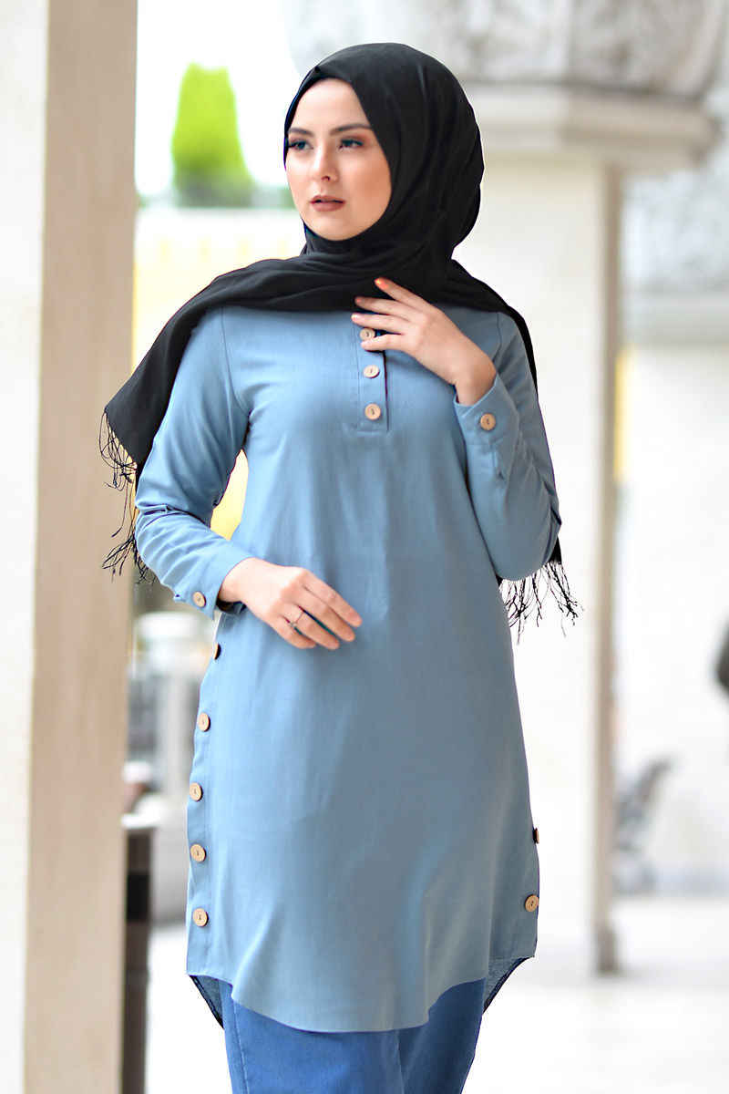 Girocollo Button Tunik TSD1041 Denim di Colore