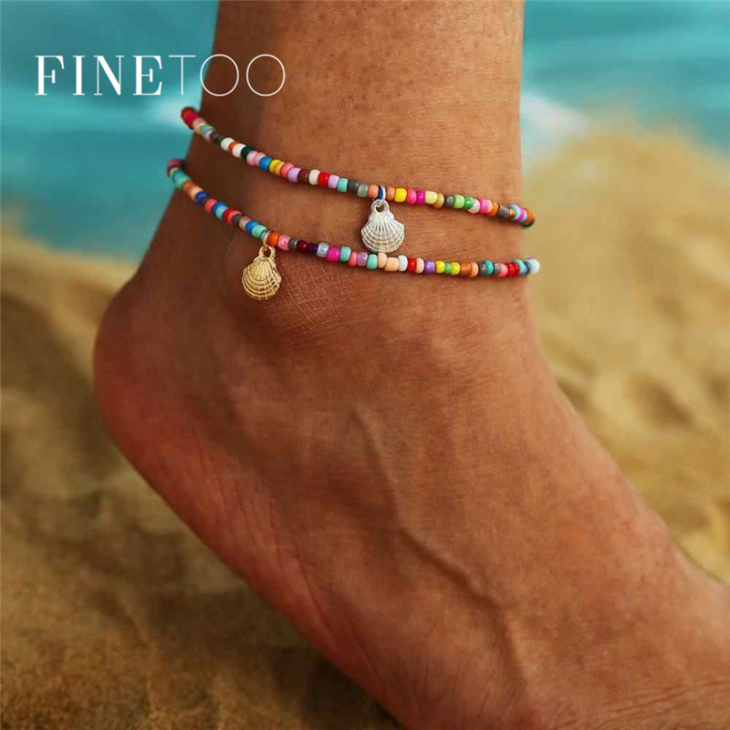 Bohemian Metal Scallop Shell Colorful Beads Anklet for Women Fashion Summer Ocean Beach Ankle Bracelet Foot Leg Jewelry 2020