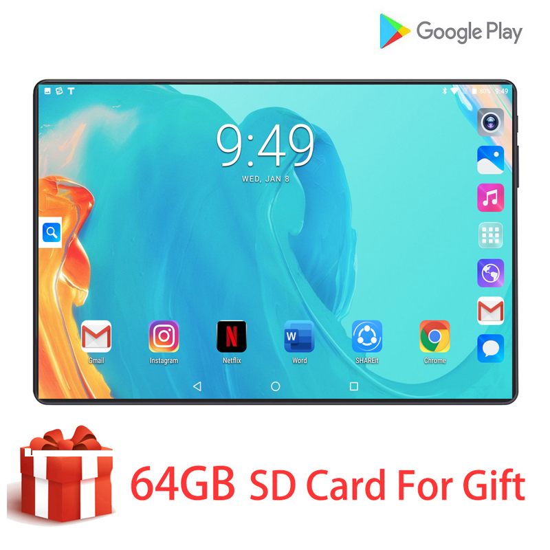 10 Inch 100% Original 4G LTE Phone Call Tablets Android 9.0 Octa-Core 6G+128G Tablet PC HD Screen Dual SIM Card WiFi GPS Tablet