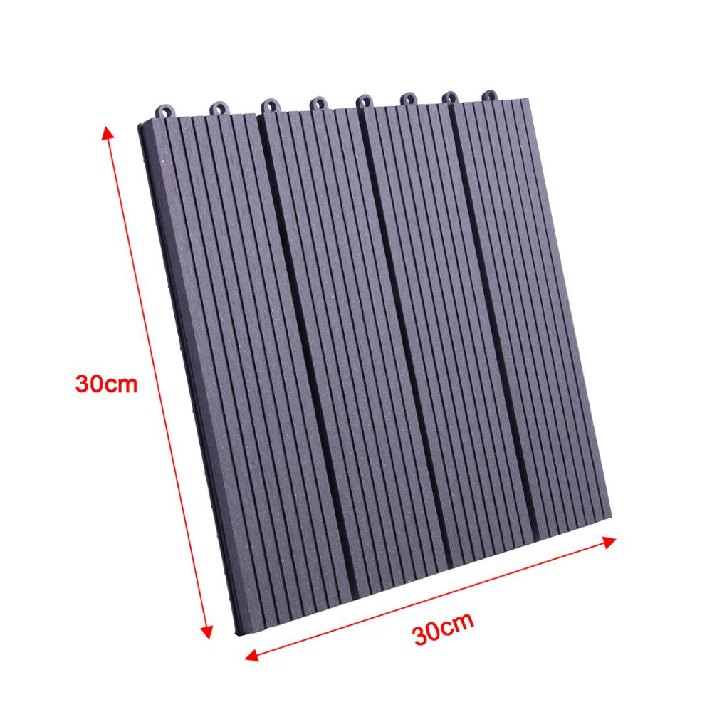 30 x 30cm WPC Composite Garden Floor Boards Set of 1Interlocking Wood Effect Terrace Tiles Flooring with Click System  - buy with discount