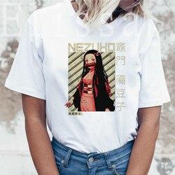 Модные футболки с принтом «Демон клинок», футболка для девочек, Harajuku, большие размеры, женская одежда, топы, футболка, повседневная женская ф...