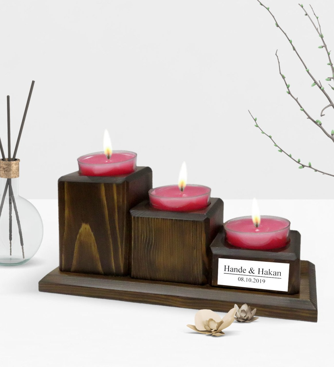 Personalized Is Decorative 3 Layer Natural Wooden Candle Holder Walnut   - title=