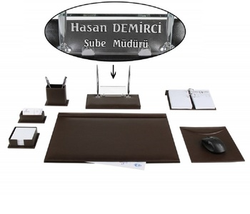 Ceyhan Office Business Brown Leather Desk Set Pad Crystal Table Nameplate Chief Organizer