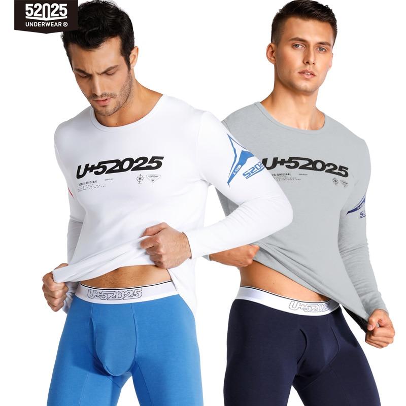 52025 Men Thermal Underwear Warm Fleece-lined Breathable Cotton Thermal Underwear Trendy Print Comfortable Soft Men's Long Johns