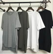 Kanye west estendido camisa masculina verão bainha curvada longline hip hop estilo urbano t camisa alta rua trois trimestre manches marqu