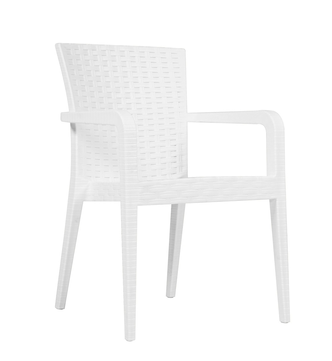 Armchair JAZMIN, Stackable White Polypropylene