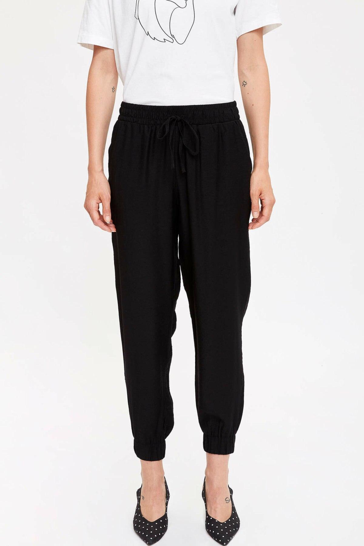 DeFacto Woman Fashion Sport Trousers Female Casual Drawstring Loose Pants Ladies Comfort Loose Sweatpants New - L5401AZ19SM