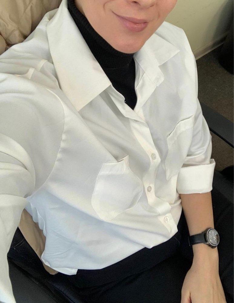 Ol Style White Shirts For Women Turn Down Collar Pockets Women Blouse Tops Elegant Workwear Female Tops Blusas Femme Autumn photo review