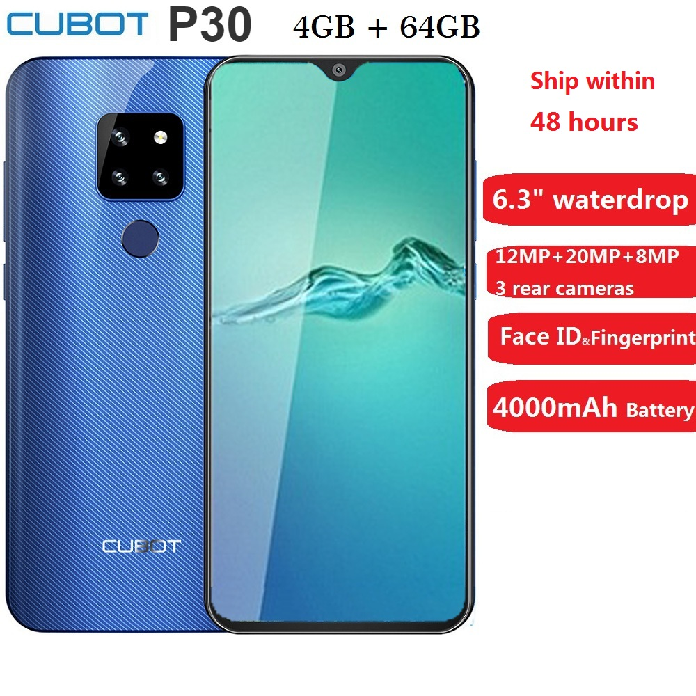 Cubot P30 Smartphone 6.3 2340x1080p 4GB+64GB Android 9.0 Pie Helio P23 AI Cameras Face ID 4000mAh Cell Phone for Dropshipping