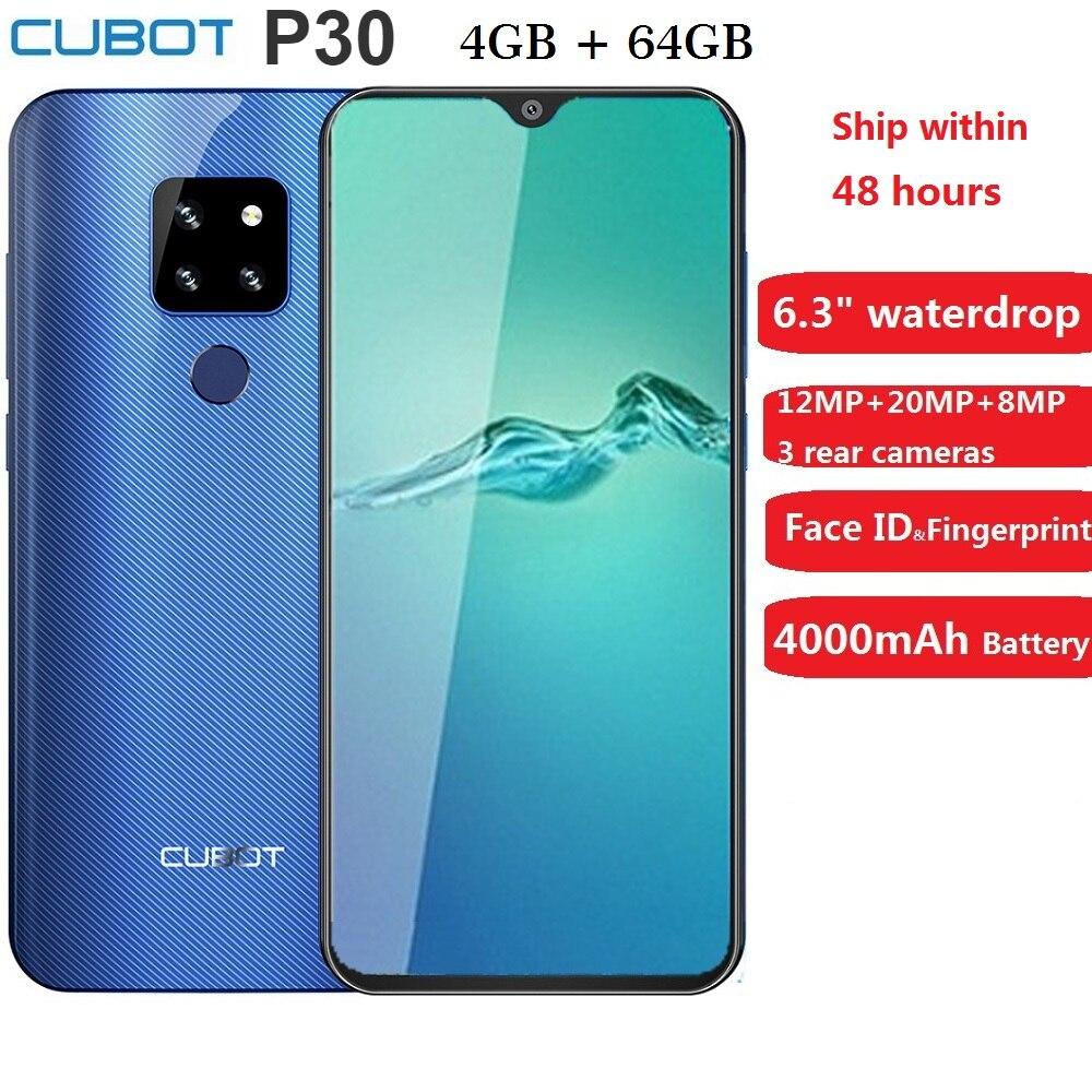 Cubot p30 smartphone 6.3 2340x1080 p 4 gb + 64 gb android 9.0 torta helio p23 ai câmeras face id 4000 mah telefone celular para dropshipping